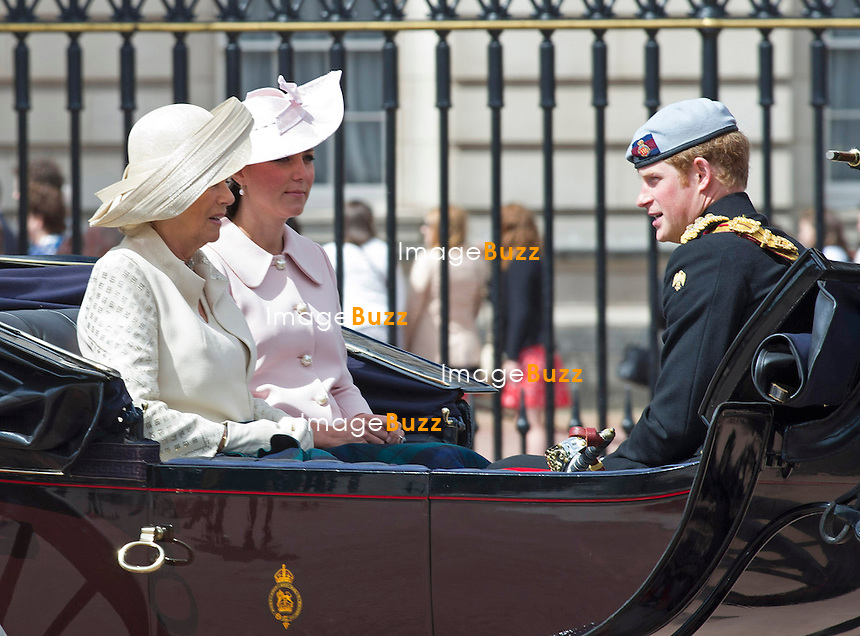 KATE ATTENDS TROOPING<br /> Kate who is 8months into her pregnancy rode in the carriage procession at the Trooping of the Colour.<br /> The event marks the Queen's Official Birthday, The Mall, London_15th June 2013