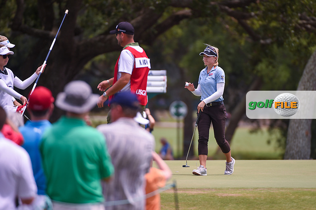 Brooke M. Henderson (CAN) after sinking her par putt on 1 during round 2 of the 2019 US Women's Open, Charleston Country Club, Charleston, South Carolina,  USA. 5/31/2019.<br /> Picture: Golffile | Ken Murray<br /> <br /> All photo usage must carry mandatory copyright credit (© Golffile | Ken Murray)