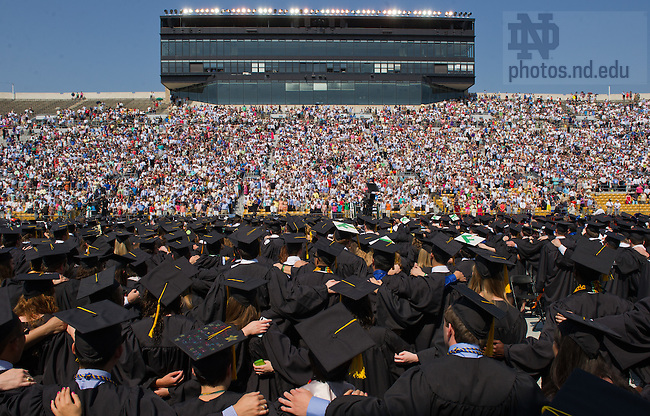 May 20, 2012; Students face the crowd to sing the Alma Mater at the close of the 2012 Commencement Ceremony in Notre Dame Stadium...Photo by Matt Cashore/University of Notre Dame