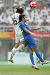 07 August 2008: Sacha Kljestan (USA) (16) and Yohei Kajiyama (JPN) (right) challenge for a header.  The men's Olympic team of the United States defeated the men's Olympic soccer team of Japan 1-0 at Tianjin Olympic Center Stadium in Tianjin, China in a Group B round-robin match in the Men's Olympic Football competition.