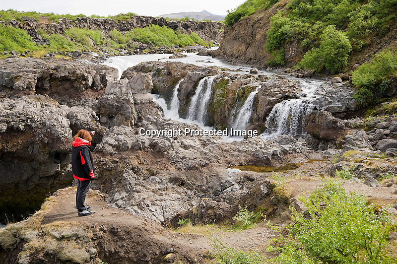 View of Powerful Barnafoss Waterfall near Husafell in Iceland