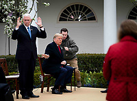 United States President Donald J. Trump and US Vice President Mike Pence as they participate in a Fox News Virtual Town Hall with Anchor Bill Hemmer, in the Rose Garden of the White House in Washington, DC, Tuesday, March, 24, 2020.<br /> Credit: Doug Mills / Pool via CNP/AdMedia