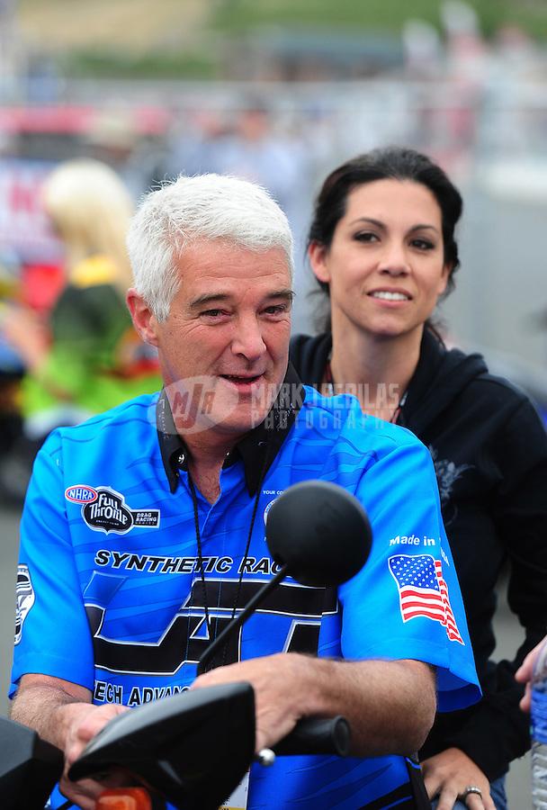 Jul. 31, 2011; Sonoma, CA, USA; NHRA pro stock motorcycle rider Mike Berry during the Fram Autolite Nationals at Infineon Raceway. Mandatory Credit: Mark J. Rebilas-