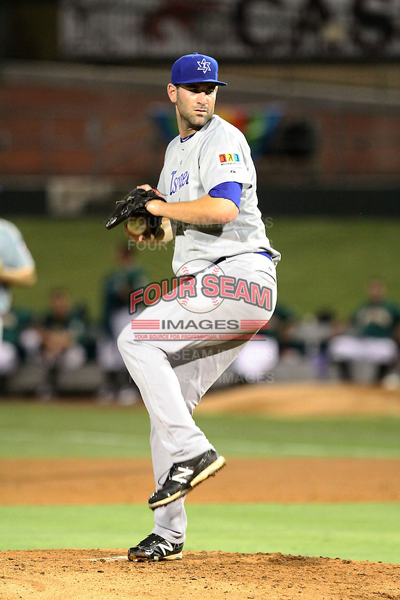 Brett Lorin #10 of Team Israel pitches against during a game against Team South Africa at Roger Dean Stadium on September 19, 2012 in Jupiter, Florida. Team Israel defeated Team South Africa 7-3.  (Stacy Jo Grant/Four Seam Images).