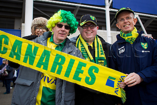 27.02.2016. King Power Stadium, Leicester, England. Barclays Premier League. Leicester City versus Norwich City. Norwich City fans pictured outside the King Power Stadium before kick off.