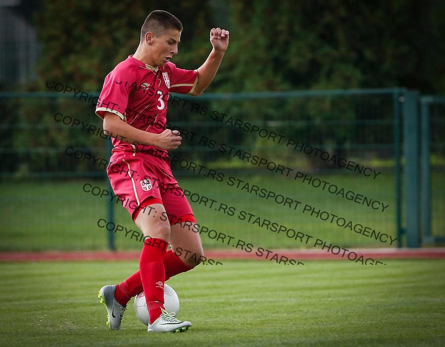 Fudbal Soccer<br /> International Friendly-Prijateljski mec<br /> Srbija U17 v Belorusiaj U17<br /> Zlatan Sehovic<br /> Stara Pazova, 20.09.2016<br /> foto: Srdjan Stevanovic/Starsportphoto &copy;