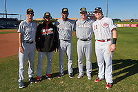 Mesa Solar Sox James Buckelew (25), Yefri Perez (1), Jarlin Garcia (38), Brian Anderson (14), all of the Miami Marlins organization, pose for a photo with former teammate Chad Wallach (22), of the Cincinnati Reds organization playing with the Peoria Javelinas, after a game on October 19, 2016 at Peoria Stadium in Peoria, Arizona.  Peoria defeated Mesa 2-1.  (Mike Janes/Four Seam Images)