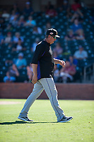 Salt River Rafters pitching coach Dave Burba (34), of the Colorado Rockies organization, during an Arizona Fall League game against the Surprise Saguaros on October 9, 2018 at Surprise Stadium in Surprise, Arizona. The Rafters defeated the Saguaros 10-8. (Zachary Lucy/Four Seam Images)