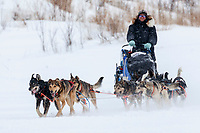 Aaron Peck dogs break trail in fresh snow and wind on the trail into the Iditarod checkpoint on Friday, March 9th during the 2018 Iditarod Sled Dog Race -- Alaska<br /> <br /> Photo by Jeff Schultz/SchultzPhoto.com  (C) 2018  ALL RIGHTS RESERVED