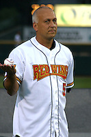 August 29, 2003:  Cal Ripken Jr. jokes around as he's inducted into the Rochester Red Wings Hall of Fame before an International League game at Frontier Field in Rochester, NY.  Photo by:  Mike Janes/Four Seam Images