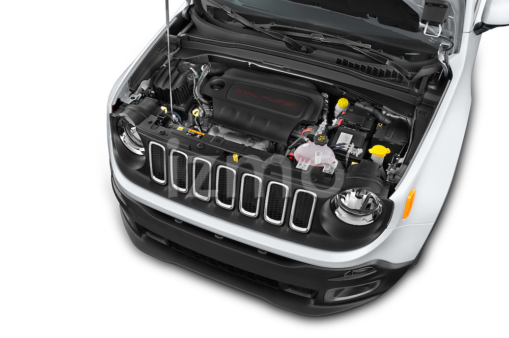 Car Stock 2015 JEEP Renegade Latitude Door Sport Utility Vehicle Engine high angle detail view