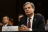 """Director Christopher Wray, Federal Bureau of Investigation (FBI) testifies before the United States Senate Select Committee on Intelligence during an open hearing on """"Worldwide Threats"""" on Capitol Hill in Washington, DC on Tuesday, January 29, 2019.<br /> Credit: Martin H. Simon / CNP"""