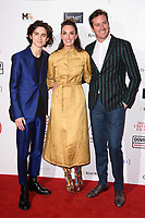 Timothee Chalamet, Elizabeth Chambers &amp; Armie Hammer at the 38th Annual London Critics' Circle Film Awards at the Mayfair Hotel, London, UK. <br /> 28 January  2018<br /> Picture: Steve Vas/Featureflash/SilverHub 0208 004 5359 sales@silverhubmedia.com