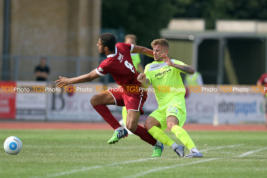 Craig Slater of Colchester challenges Frankie Merrifield of Chelmsford during Chelmsford City vs Colchester United, Friendly Match Football at Melbourne Park on 23rd July 2016