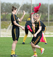 20180306 - LARNACA , CYPRUS :  Belgian Heleen Jaques and Jana Coryn (r) pictured during a Matchday -1 training from The Belgian Red Flames prior to their game against South Africa , on tuesday 6 March 2018 at the Alpha Sports Grounds in Larnaca , Cyprus . This will be the final game for Belgium during the Cyprus Womens Cup for a battle for the 5th place , a prestigious women soccer tournament as a preparation on the World Cup 2019 qualification duels. PHOTO SPORTPIX.BE | DAVID CATRY