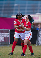 Naomi Labelle (left) (PYT) celebrates with Natasha Olrog (PYT) during the SOCCER SIX Celebrity Football Event at the Queen Elizabeth Olympic Park, London, England on 26 March 2016. Photo by Andy Rowland.
