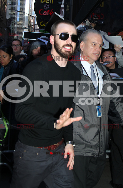 April 30, 2012: Chris Evans at Good Morning America the talk about his new movie the Avengers in New York City. Credit: RW/MediaPunch Inc.
