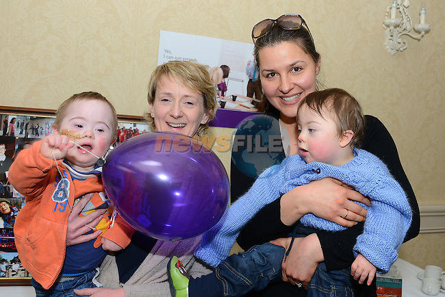 Eoin Conroy with his Mum Maria and Elliot Winders with his Mum Natasha at the Coffee morning to mark World Down Syndrome Day. www.newsfile.ie