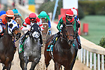 HOT SPRINGS, AR - FEBRUARY 19:#9, Rocking the Boat with jockey Fernando De La Cruz (far right) leading going into first turn in the Razorback Handicap at Oaklawn Park on February 19, 2018 in Hot Springs, Arkansas. (Photo by Ted McClenning/Eclipse Sportswire/Getty Images)