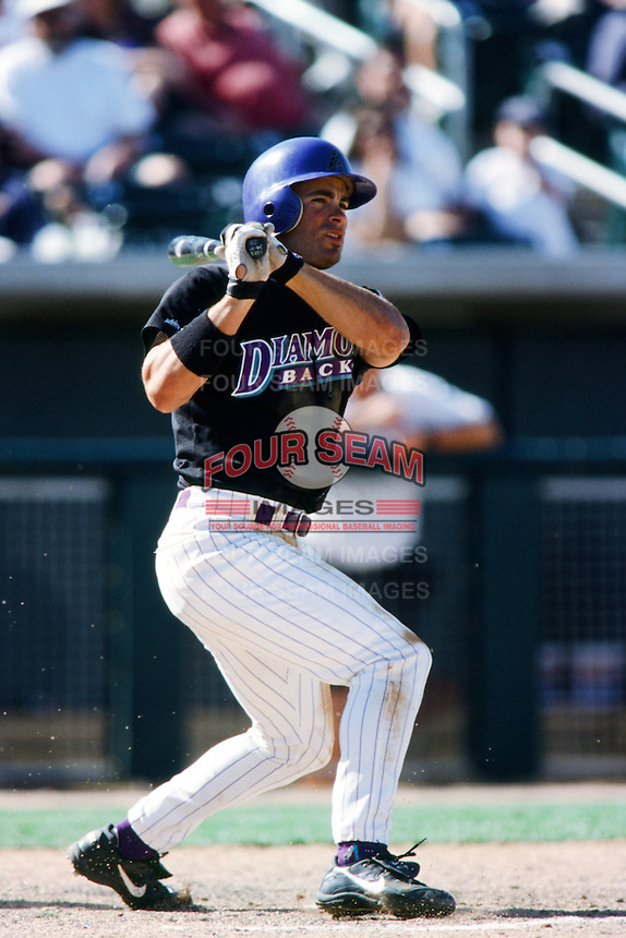 David Dellucci of the Arizona Diamondbacks bats during a 1999 Major League Baseball Spring Training game in Phoenix, Arizona. (Larry Goren/Four Seam Images)