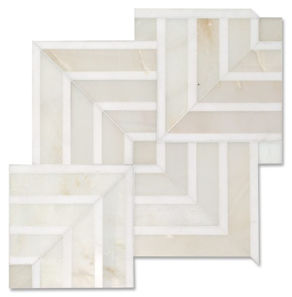 Delaunay, a hand-cut stone mosaic, shown in polished Cloud Nine and Dolomite, is part of The Studio Line of Ready to Ship mosaics.