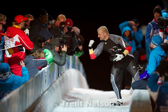 Trent Nelson  |  The Salt Lake Tribune.Two-Man Bobsled, at the XXI Olympic Winter Games in Whistler, Sunday, February 21, 2010. Germany 1 Andre Lange, Kevin Kuske, gold medal