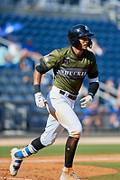 Biloxi Shuckers first baseman Jake Gatewood (3) runs to first base during a game against the Jacksonville Jumbo Shrimp on May 6, 2018 at MGM Park in Biloxi, Mississippi.  Biloxi defeated Jacksonville 6-5.  (Mike Janes/Four Seam Images)