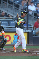 David Hamilton (2) of the West team bats during the 2015 Perfect Game All-American Classic at Petco Park on August 16, 2015 in San Diego, California. The East squad defeated the West, 3-1. (Larry Goren/Four Seam Images)