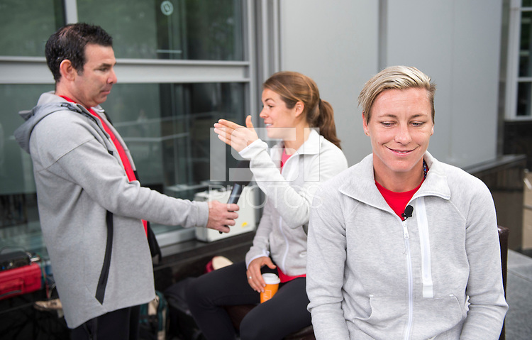 Montreal, Canada - July 1, 2015:  The USWNT had several interviews with the media after defeating Germany  2-0 during the semifinals of the FIFA Women's World Cup at Olympic Stadium.