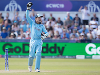 Jos Buttler (England) appeals for the run out of Taylor during England vs New Zealand, ICC World Cup Cricket at The Riverside Ground on 3rd July 2019