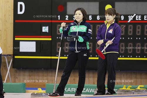 (L to R) .Ayumi Ogasawara (Fortius), .Miyo Ichikawa (Chubu Electric Power), .APRIL 1, 2013 - Curling : .Karuizawa Ice Park .Dream team exhibition match .at Karuizawa Ice Park, Nagano, Japan. .(Photo by YUTAKA/AFLO SPORT)