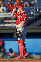 Williamsport Crosscutters catcher Austin Bossart (47) during a game against the Batavia Muckdogs on July 15, 2015 at Dwyer Stadium in Batavia, New York.  Williamsport defeated Batavia 6-5.  (Mike Janes/Four Seam Images)
