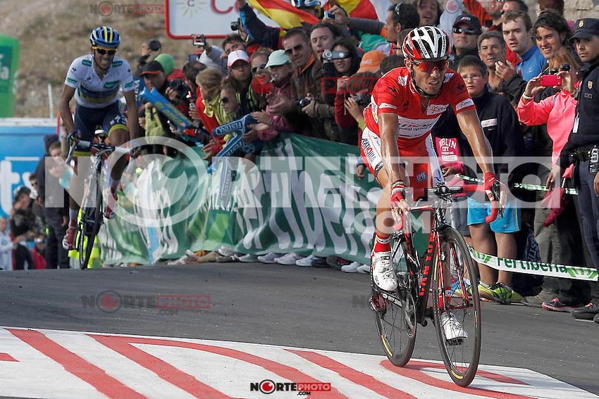 Joaquin Purito Rodrigez (r) and Alberto Contador come to the finish in the stage of La Vuelta 2012 between Gijon and Valgrande-Pajares (Cuitu Negru).September 3,2012. (ALTERPHOTOS/Acero) /NortePhoto.com<br /> <br /> **CREDITO*OBLIGATORIO** <br /> *No*Venta*A*Terceros*<br /> *No*Sale*So*third*<br /> *** No*Se*Permite*Hacer*Archivo**<br /> *No*Sale*So*third*