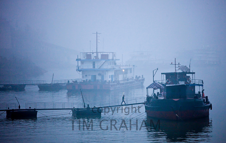 Tourist passenger cruiser boats moored on the Yangtze River, China