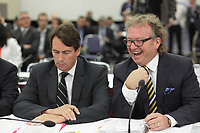 Robert Depatie, announced today, April 28, 2014 that he must resign as President and CEO of Quebecor for health Reason.<br /> <br /> Depatie is een here in a file photo taken at the  CRTC hearing on Astral acquisition by Bell Canada , in Montreal on September 11, 2012 <br /> <br /> File Photo : Pierre Roussel - Agence Quebec Presse