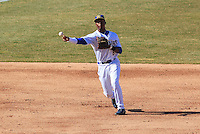 Wisconsin Timber Rattlers shortstop Luis Aviles (6) throws to first during a game against the Peoria Chiefs on April 12th, 2015 at Fox Cities Stadium in Appleton, Wisconsin.  Peoria defeated Wisconsin 11-1.  (Brad Krause/Four Seam Images)