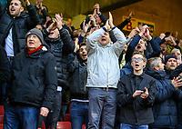 Leeds United fans react to the victory<br /> <br /> Photographer Alex Dodd/CameraSport<br /> <br /> The EFL Sky Bet Championship - Sheffield United v Leeds United - Saturday 1st December 2018 - Bramall Lane - Sheffield<br /> <br /> World Copyright &copy; 2018 CameraSport. All rights reserved. 43 Linden Ave. Countesthorpe. Leicester. England. LE8 5PG - Tel: +44 (0) 116 277 4147 - admin@camerasport.com - www.camerasport.com