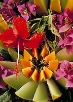 Exotic fruit and flower presentation