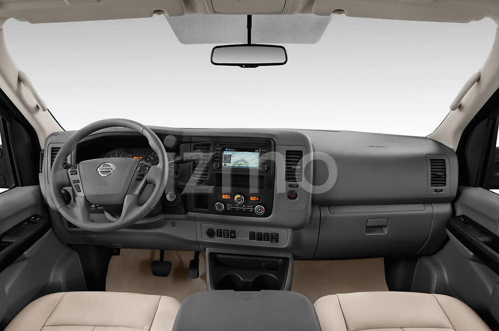 Stock photo of straight dashboard view of a 2019 Nissan NV Passenger SL 4 Door Passenger Van