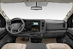 Stock photo of straight dashboard view of a 2019 Nissan NV Passenger SL 4 Door Passenger Van