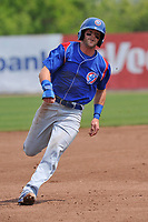 South Bend Cubs right fielder Brandon Cummins runs to third base during a game against the Burlington Bees at Community Field on May 10, 2017 in Burlington, Iowa.  The Bees won 4-3 in 10 innings.  (Dennis Hubbard/Four Seam Images)