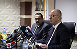 Palestinian Prime Minister Rami Hamdallah speaks during a press conference about the power crisis in the Gaza Strip in the West Bank city of Ramallah on January 16, 2017. Gaza's power authority said that fuel from Qatar arrived to the Gaza Strip on Monday. Qatari-bought diesel will double the amount of power provided to Gazan households. Gaza has been experiencing the worst electricity shortage in years, limiting Gazans to about four hours of electricity per day. Photo by Prime Minister Office