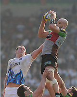 George Robson of Harlequins outjumps Carl Fearns of Bath Rugby in the lineout during the Aviva Premiership match between Harlequins and Bath Rugby at The Twickenham Stoop on Saturday 24th March 2012 (Photo by Rob Munro)