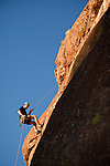 Dana John Wentzel of Shadow Cat Adventure rappels in Upper Devils Canyon near Superior, Arizona