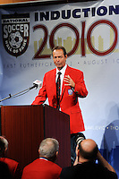 Thomas Dooley gives his acceptance speech during the induction ceremony for the National Soccer Hall of Fame at the New Meadowlands Stadium in East Rutherford, NJ, on August 10, 2010.