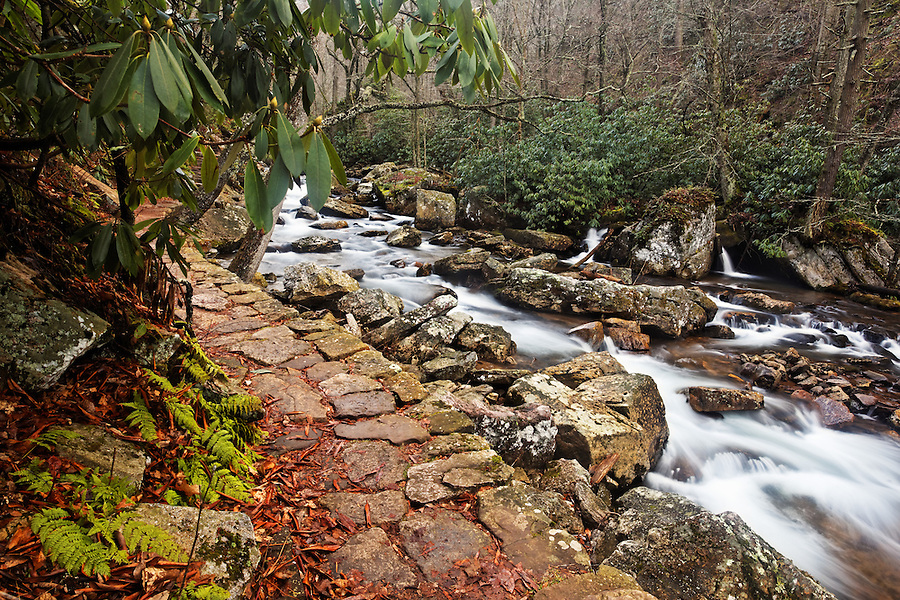 Stone trail along Little Stony Creek on an overcast winter day, Cascade Falls, Pembroke, Giles County, Virginia, USA.