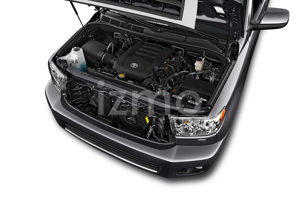 Car stock 2015 Toyota Sequoia SR5 5 Door SUV engine high angle detail view
