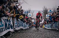 Mads Pedersen (DEN/Trek Segafredo) concering the infamous Oude Kwaremont cobbles<br /> <br /> 102nd Ronde van Vlaanderen 2018 (1.UWT)<br /> Antwerpen - Oudenaarde (BEL): 265km