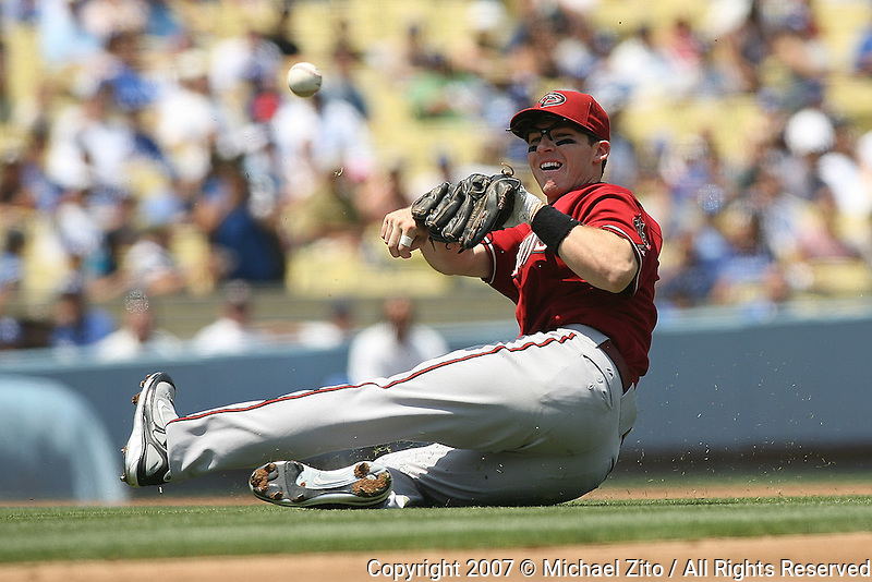 Los Angeles, CA - August 05, 2007 : Infielder Stephen Drew of the of the Arizona Diamondbacks in action against the Los Angeles Dodgers on August 5, 2007 at Dodger Stadium in Los Angeles, California. The Diamondbacks defeated the Dodgers 3-0 .