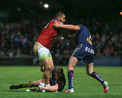 7th September 2017, Beaumont Legal Stadium, Wakefield, England; Betfred Super League, Super 8s; Wakefield Trinity versus St Helens; David Fifita of Wakefield Trinity is literally undressed while being tackled by Morgan Knowles of St Helens and Luke Douglas of St Helens